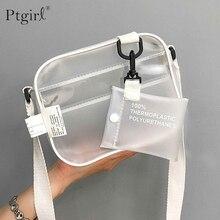 Causual PVC Transparent clair femme sacs à bandoulière sac à bandoulière sac à main Ptgir petit téléphone sacs avec porte-carte larges bretelles rabat