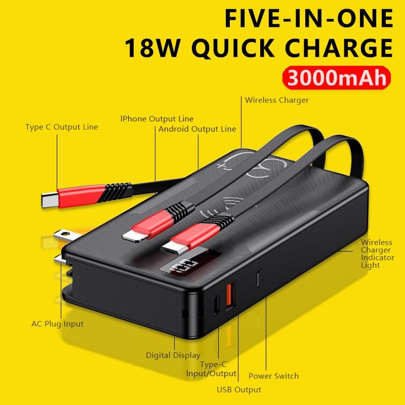 3 في 1 شاومي لاسلكي powerbank تشى 20000mAh 18 واط PD QC3.0 شاحن سريع 30000mah بطارية آيفون سامسونج بطارية خارجية