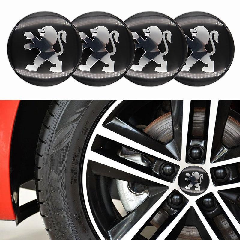 Автозапчасти, 4 шт., автомобильные наклейки на колеса 65 мм, Центральная Крышка Ступицы, логотип автомобиля, значок, наклейки для PEUGEOT-модифика...