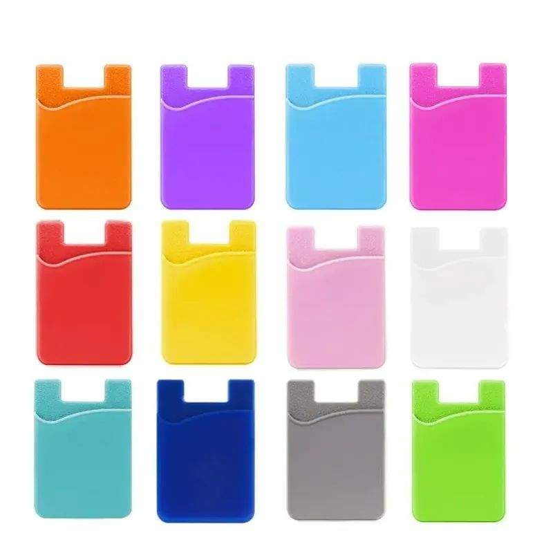 1PC Universal Phone Wallet Case ID Credit Card Holder Silicone Self-Adhesive Cellphone Pocket Sticker Card Bags Purse