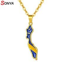 SONYA or couleur curaçao carte drapeau pendentif colliers en acier inoxydable chaîne femmes amant bijoux de fiançailles cadeau patriotique