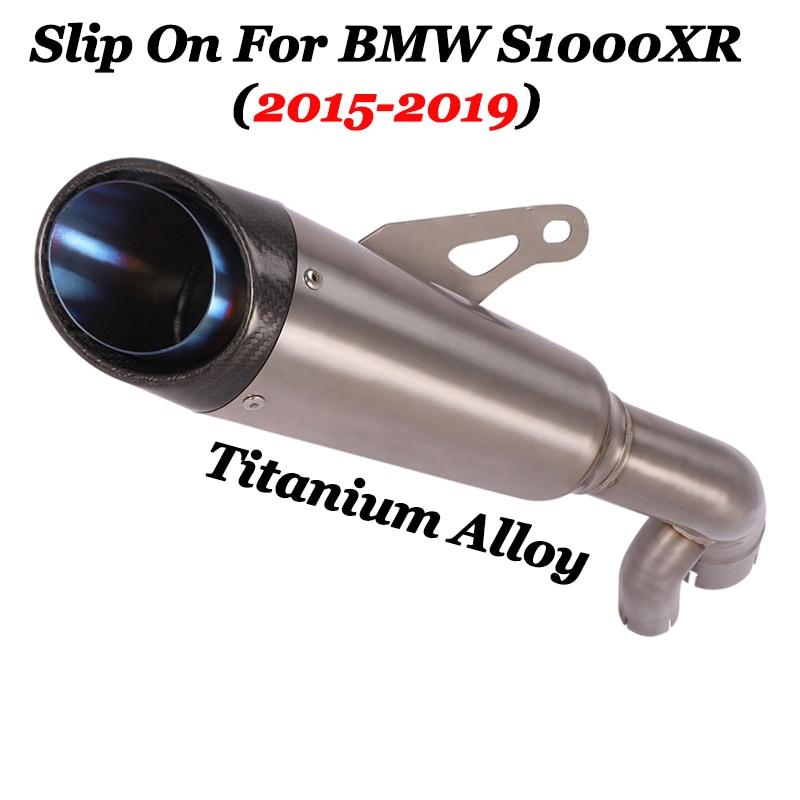 Deslizamiento para BMW S1000XR 2015-2019 motocicleta de aleación de titanio Escape completo GP modificar tubo de conexión medio silenciador de fibra de carbono