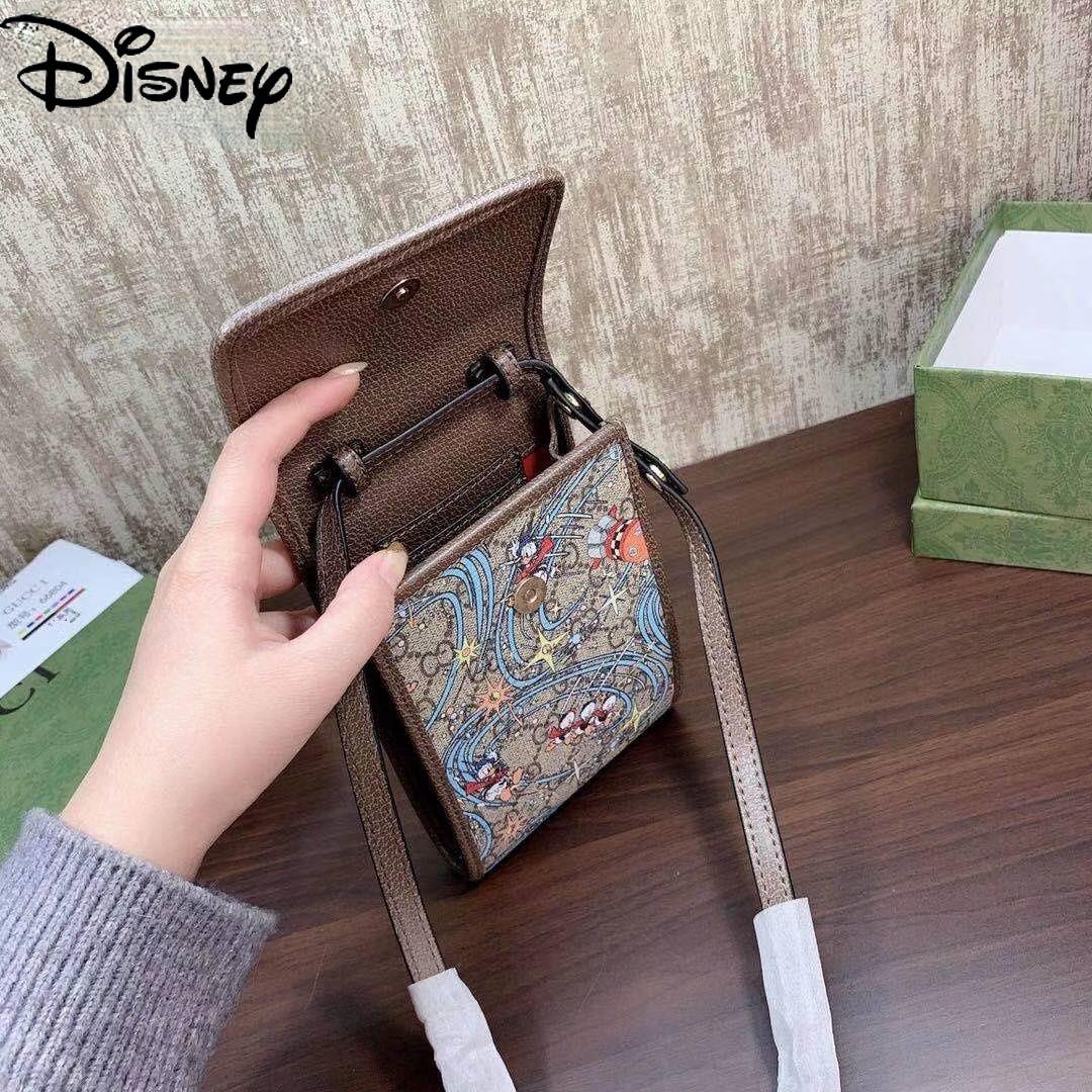Disney Donald Duck Ladies Pure Leather Mobile Phone Bag Fashion Cartoon Cute Printed Leather Case Messenger Bag