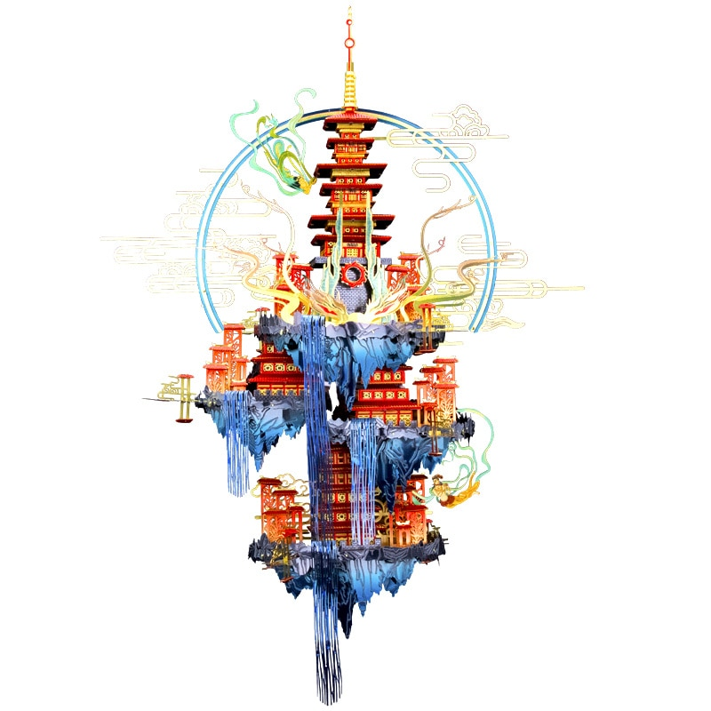 Mmz-mu نموذج معدني ثلاثي الأبعاد للكبار ، الأساطير الصينية ، Penglai ، Xiandao ، DIY بها بنفسك ، القطع بالليزر ، التجميع ، بازل قطع ، ألعاب سطح المكتب ،