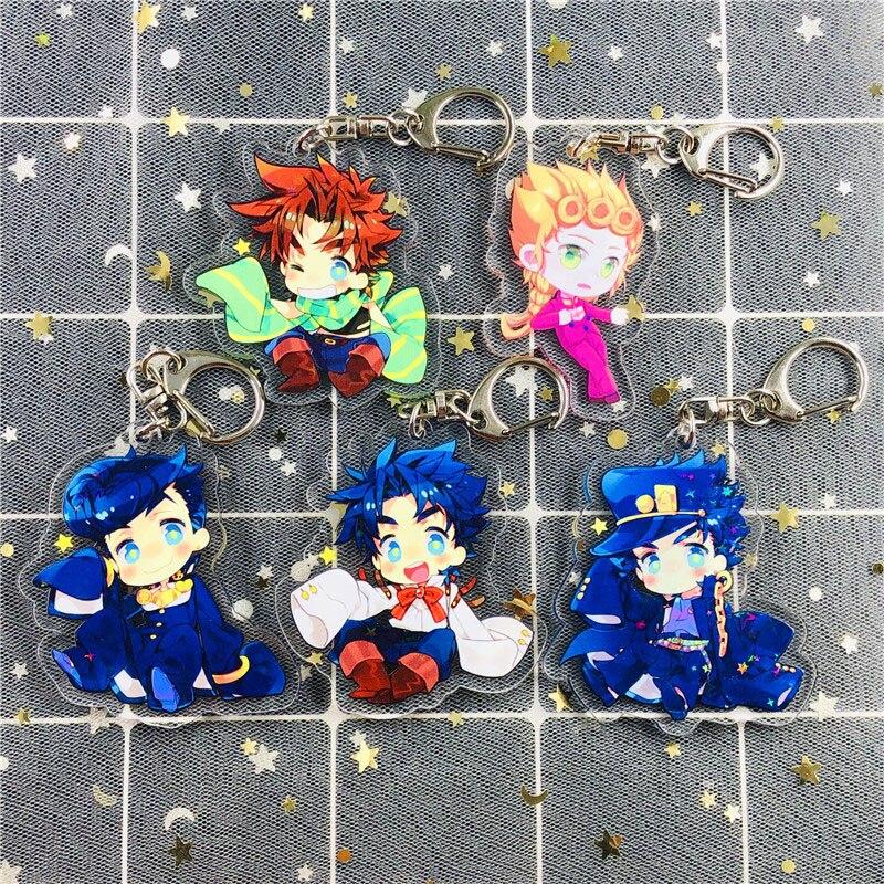 Anime Jojo Bizarre Adventure Keychain Acrylic Figure Kujo Jotaro Kira Yoshikage Caesar Pendant Keyring