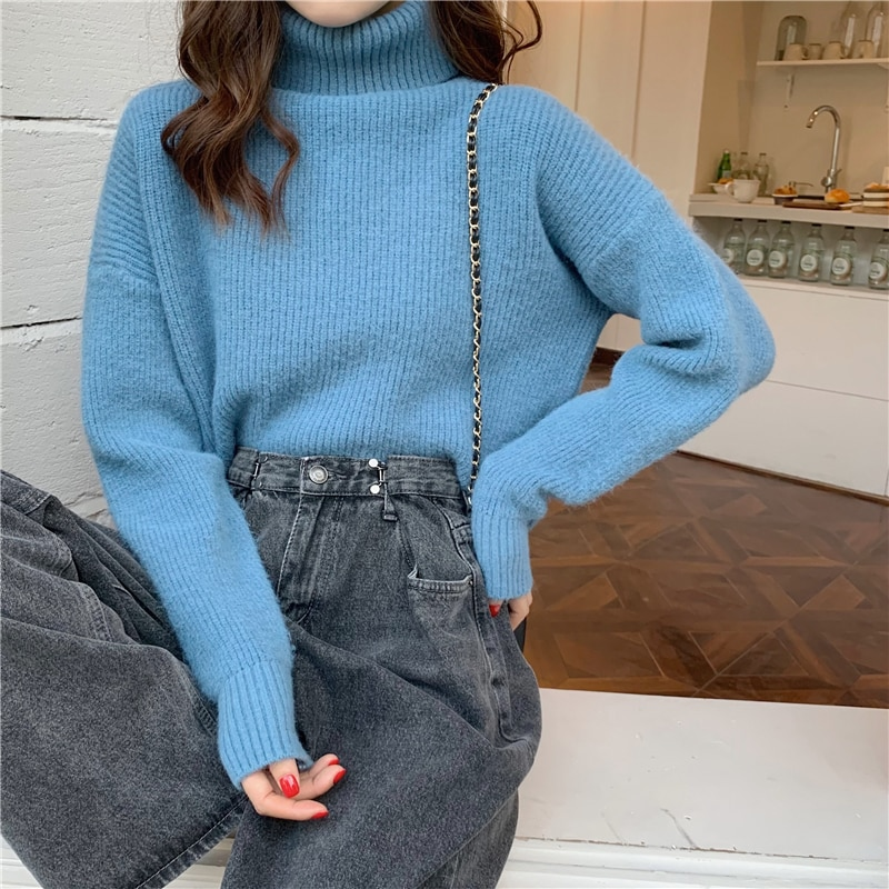 Thick Turtleneck Sweater Cashmere Sweater Women Casual Fall Winter Loose Pullover Oversized Knitted Sweater Jumper Knitwear Tops sexy bandage lace up sweater women round neck long sleeve oversized loose knit pullover jumper sweater knitwear tops outwear