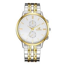 Luxury Men Watch Stainless Steel Band Quartz Watch For Business Men Gold Sliver Color Watches Reloj