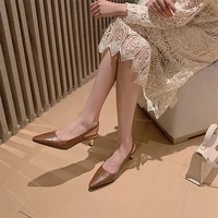coolulu pointed toe slingbacks shoes women real leather med heels stiletto heel pumps office ladies footwear spring big size 40