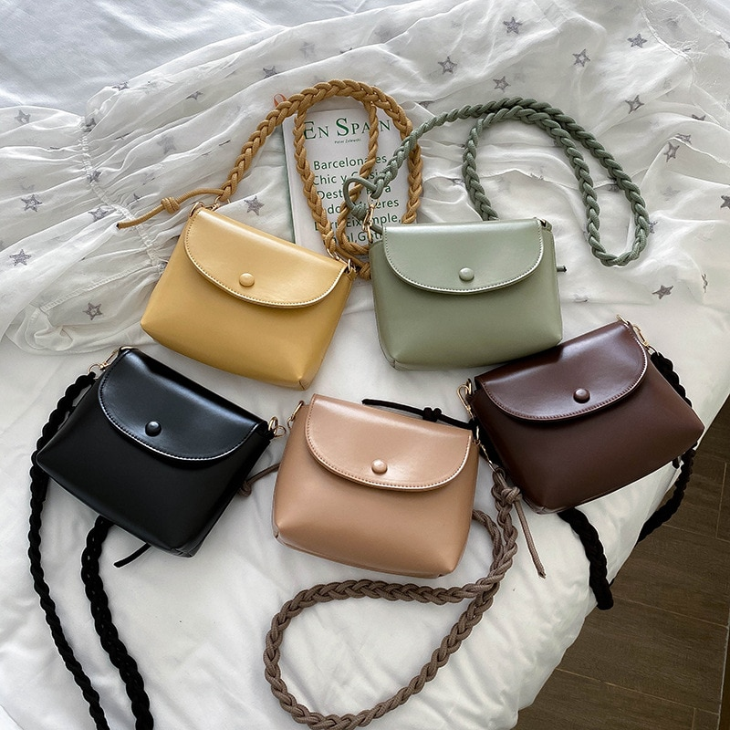 Fashion Simply PU Leather Crossbody Bags For Women 2020 Solid Color Shoulder Messenger Bag Lady Chain Travel Small Handbags