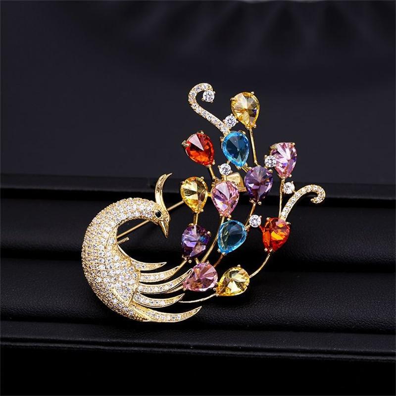 2020 lujo AAA Zircon broche de strass de pavo real Pins Vintage Crystal broches de Fénix para las mujeres accesorios Animal joyería