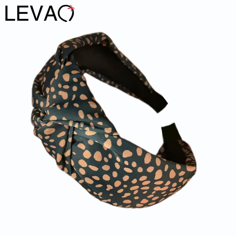 LEVAO Leopard Polka Dot Stirnband Bunny Ohr Haarband Haar Zubehör Haar Hoop Frauen Elegante Lünette Turban Mädchen Knoten Bogen Mode
