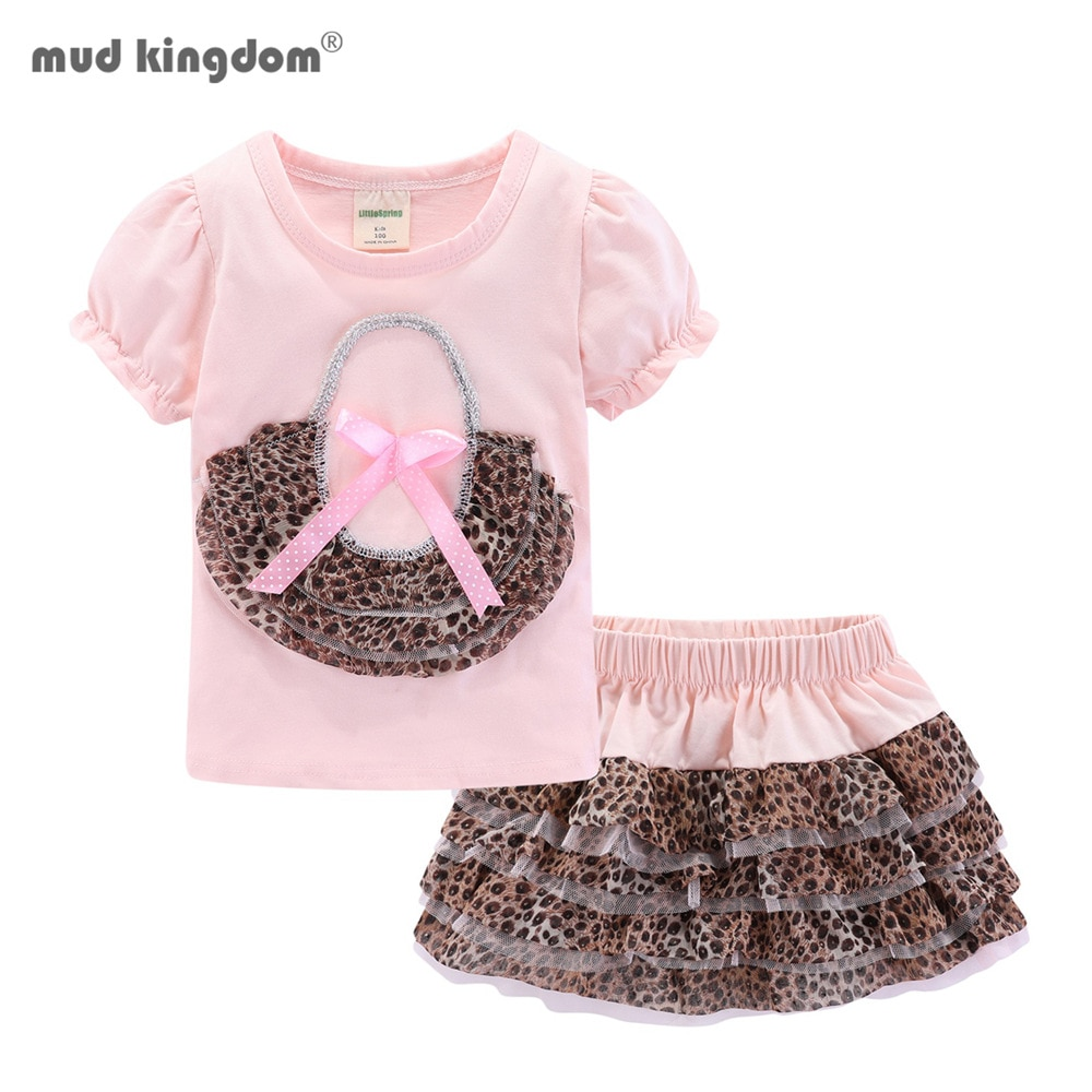 AliExpress - Mudkingdom Cute Summer Girls Clothes Set Kids Clothing Leopard Zebra Girl Skirt Outfit White Pink