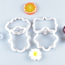 4/6 stücke Vintage Plaque Rahmen Cookie Cutter stempel Set Kunststoff DIY Keks Mould Fondant Kuchen Dekorieren Werkzeuge Lebensmittel Druck Form