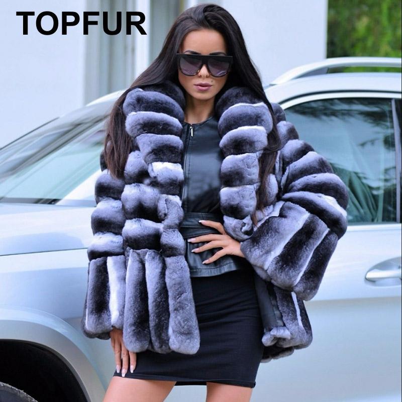 TOPFUR 2018 Luxury Turndown Fur Collar Real Fur Coats Winter Rex Rabbit Fur Jacke For Women Fashion Rabbit Fur Coat Chinchilla