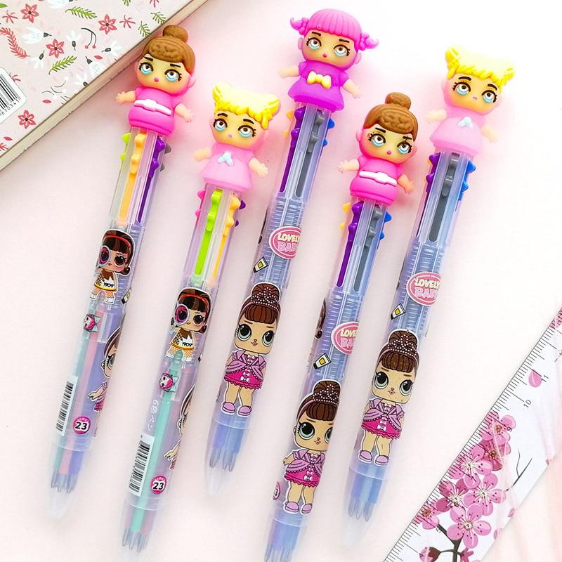 Lovely Girl Dolls Ballpoint Pen Multicolor Surprise Kawaii Baby Ball Pen for Kids Gift School Stationery Supply