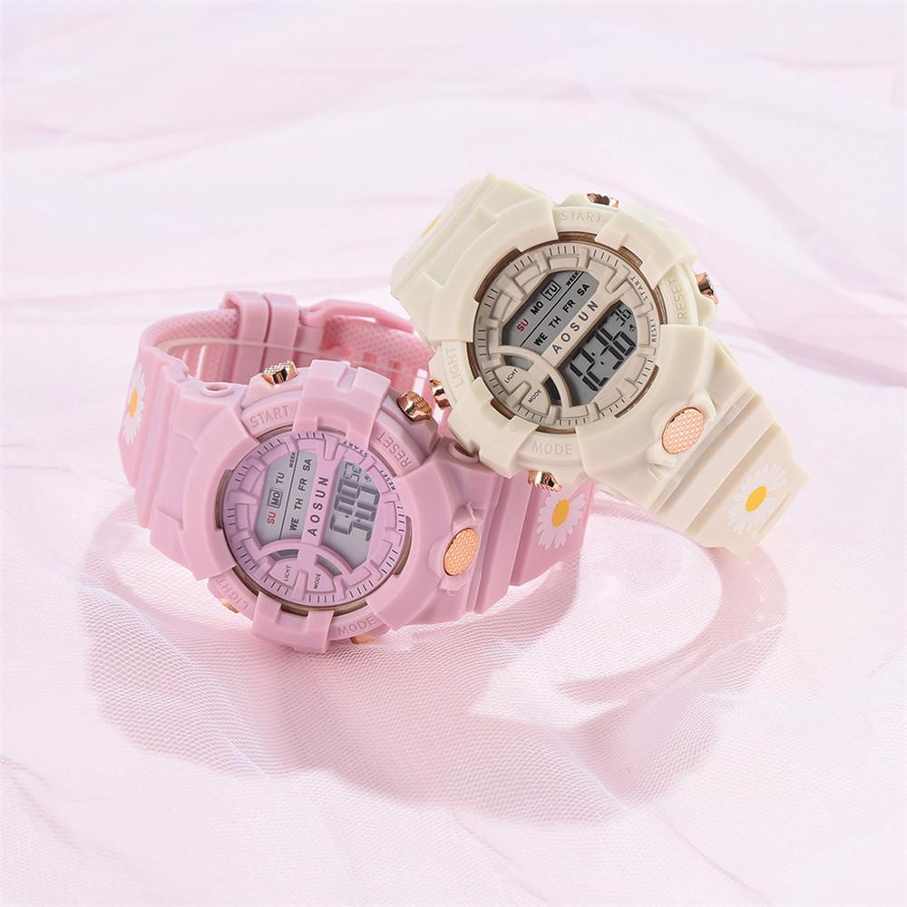 ohsen brand mens boys digital sports watches waterproof rubber band wristwatch led colorful backlight red army kids watch gift Small Daisies Pink Children Watch Boys Girls LED Digital Sports Waterproof Watches Silicone Rubber Watch Kids Casual Watch Gift