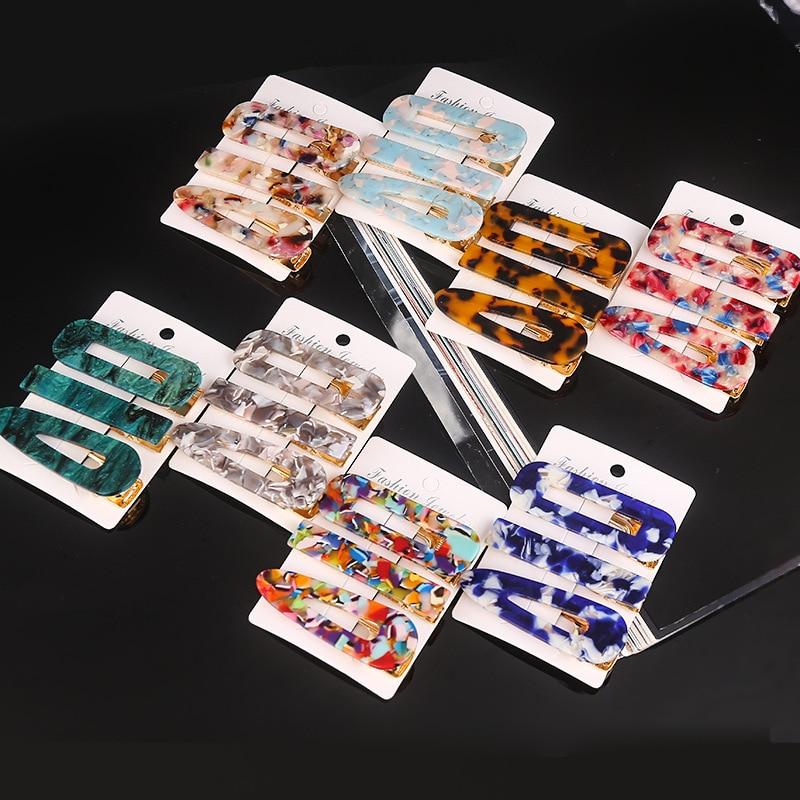 Haimeikang novo 3 pçs/set moda hairpins barrettes pérolas acetato geométrico grampos de cabelo para meninas femininas doce acessórios para cabelo