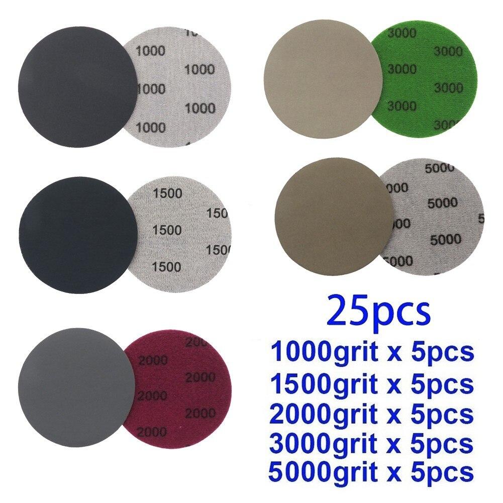 Наждачные диски для влажной и сухой шлифовки, 25 шт., 3 дюйма, зернистость 1000/1500/2000/3000/5000, зернистость 75 мм, для полировки