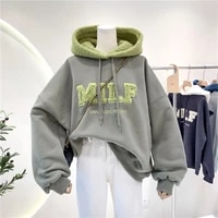 hooded stitching velvet padded thickened sweater womens autumn and winter korean style loose ins