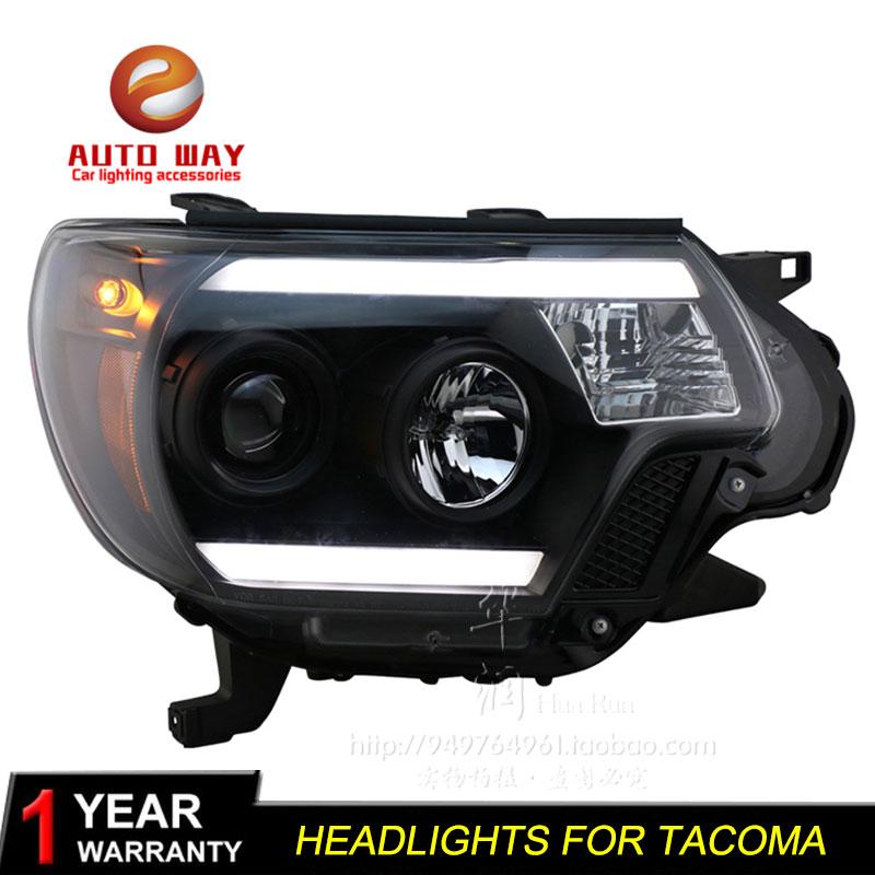 Чехол для стайлинга автомобиля, фары для Toyota Tacoma 2012-2015, СВЕТОДИОДНЫЙ DRL-объектив TAOMA, двухлучевой биксеноновый HID
