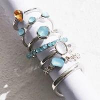 new korea 7pcsset vintage colorful stone metallic chain trendy geometry hit rings set for women girls jewelry