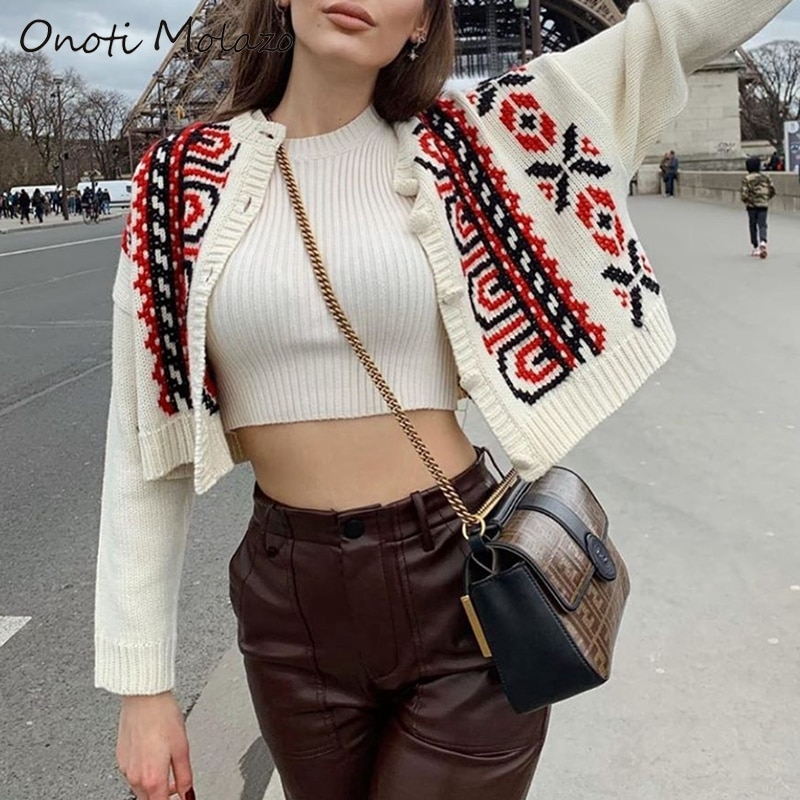 Onoti bohemian paisley sweater cardigan femme mache longue fashion kintted winter sweater women card
