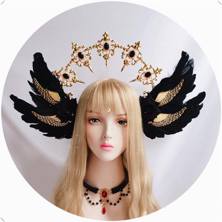 Estilo gótico lolita preto rosa diabo pena asas deusa sol auréola coroa bandana lindo vintage mary barroco tiara headwear