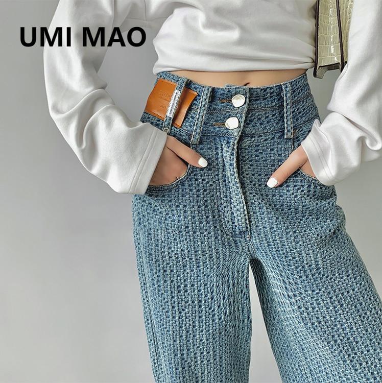 UMI ماو ريترو عالية الخصر السراويل الإناث 2021 جديد هيونا نمط ثنى التطهير الجينز Y2k سراويل جينز المرأة Harajuku الكورية
