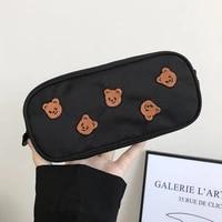 pencil bag kawaii bear embroidery canvas pencil bag pen case kids gift cosmetic stationery make up organizer pens storage bag