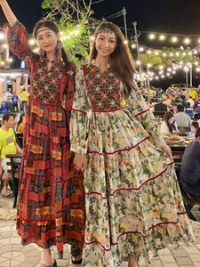 Thai National Style Retro Embroidery Temperament Show Thin Holiday Style Skirt Dress Summer Bohemian Beach Print Long Dress