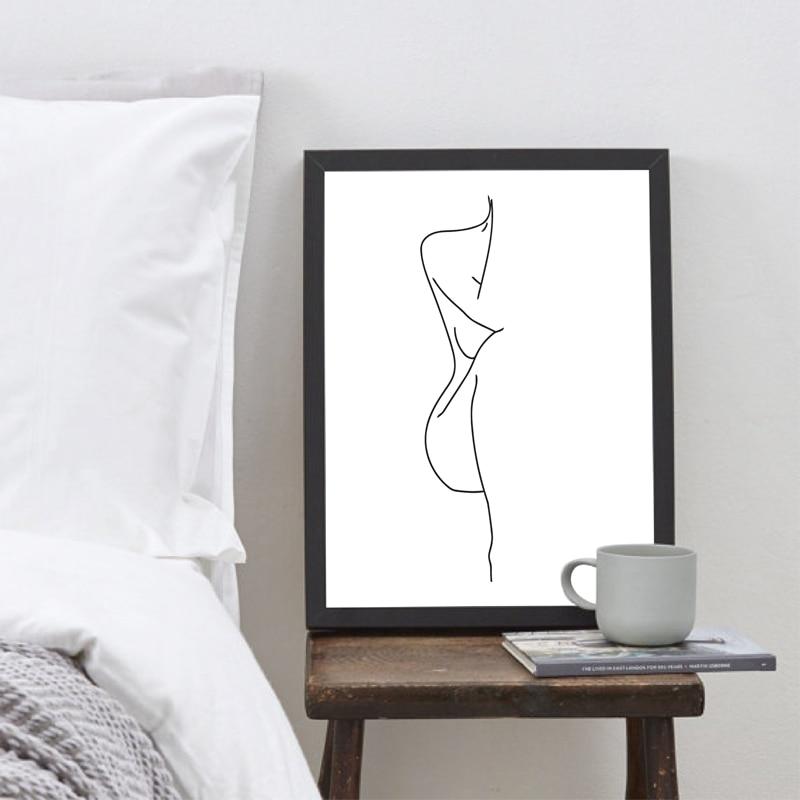 Decoración de la mujer desnuda cuerpo dibujo cuadro sobre lienzo para pared negro imagen en blanco cartel de arte minimalista figura de mujer huellas a casa