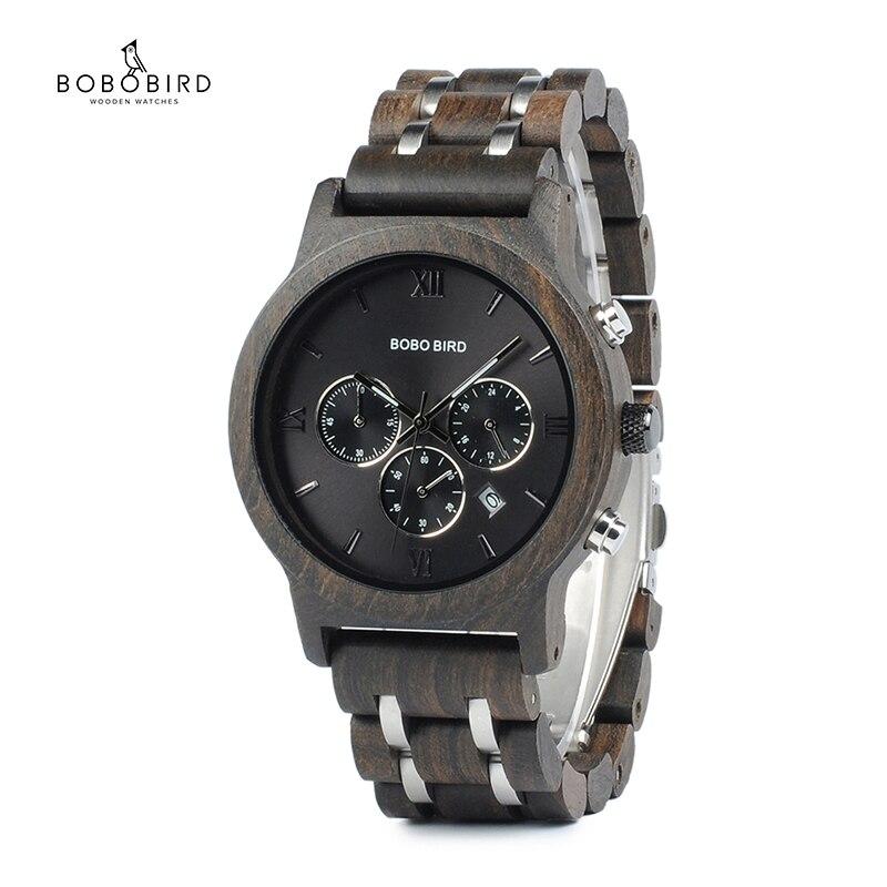 Chronograph BOBO VOGEL Männer Uhr relogio masculino Kalender Quarz Uhren Holz Luxus Uhren in Holz Geschenk Box Drop Schiff