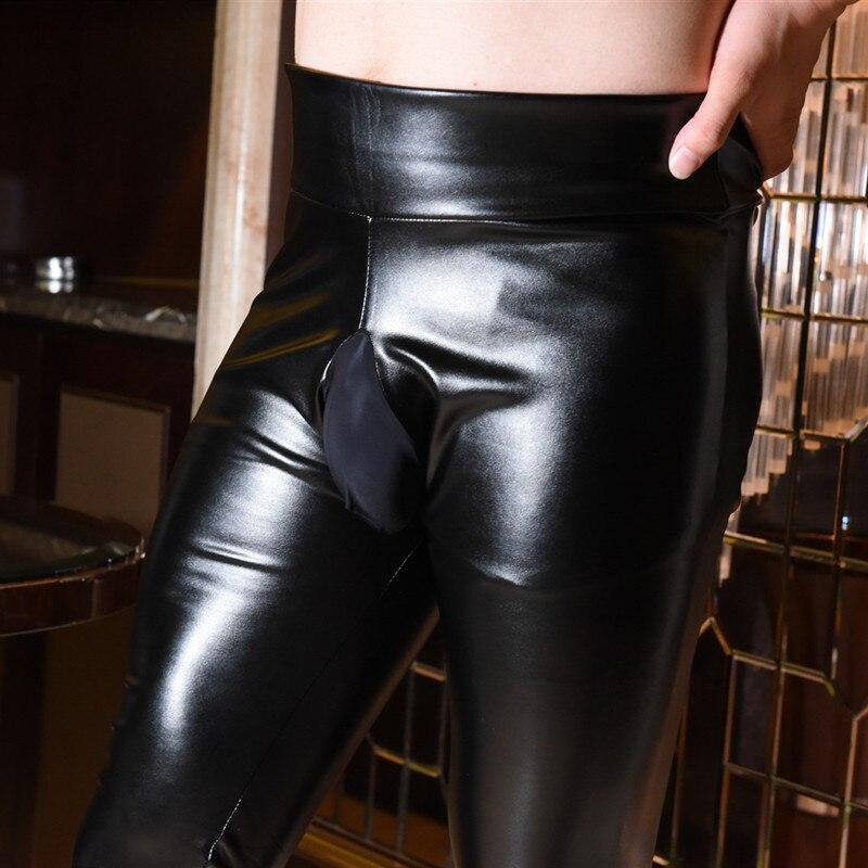 Para Hombre de cuero flaco pantalones de estiramiento de las polainas de invierno cálido puesta en escena pantalones fetiche Gay Sexy Bodywear Clubwear