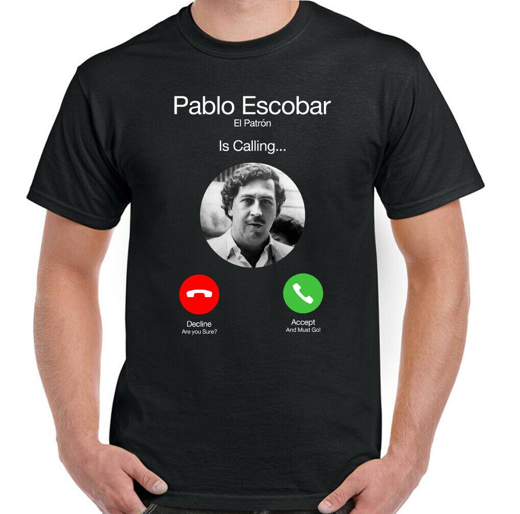 Camiseta PABLO ESCOBAR El Patron está llamando para hombre, divertida camiseta de...