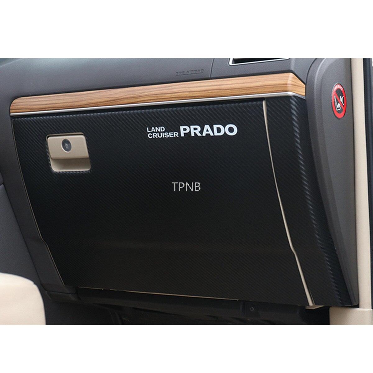 Углеродное волокно кожа бардачок кик-Накладка для Toyota Land Cruiser Prado 150 2010-2014-2019 коробка аксессуары