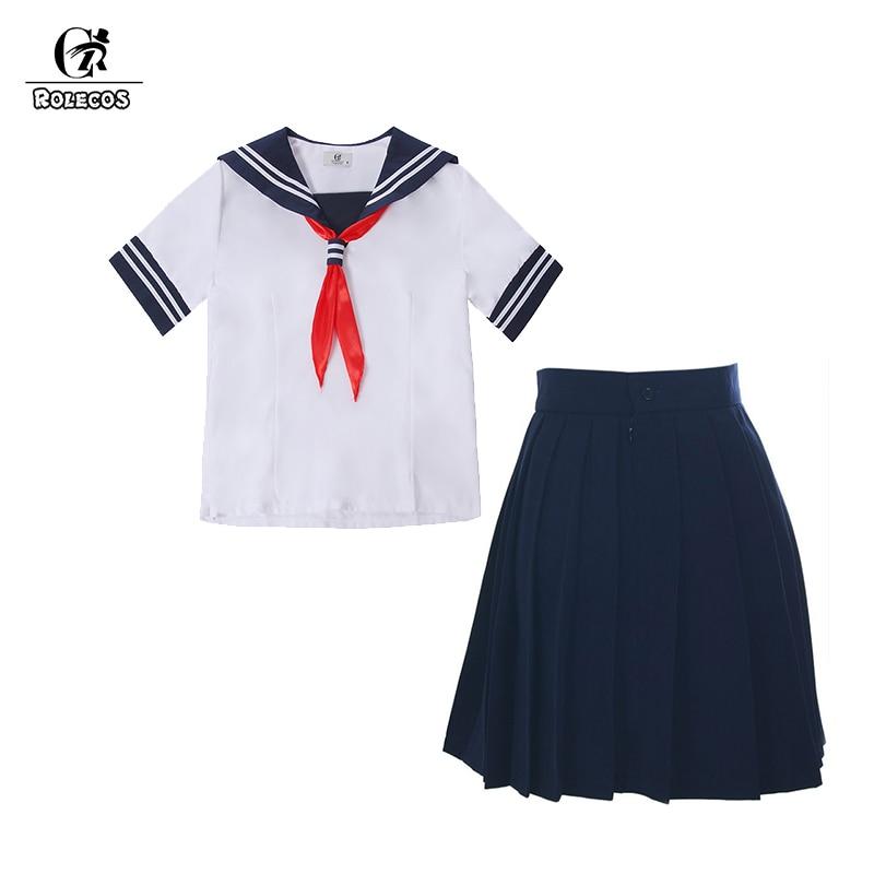 ROLECOS mujeres Preppy uniforme de la escuela uniforme de verano traje blanco camiseta azul marino mujeres traje de manga corta traje Casual disfraz