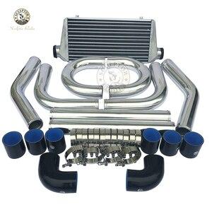 """Universale Turbo Intercooler450*230*65mm 2.5"""" di Ingresso Uscita  Alluminio e Pinna 2.5 """"turbina tubo in alluminio piping kit"""