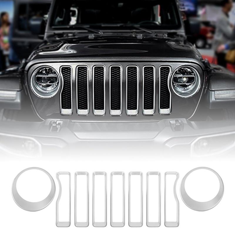 Inserções de grade dianteira e farol cobre guarnição para 2018-2019 jeep wrangler jl (pacote de 9)