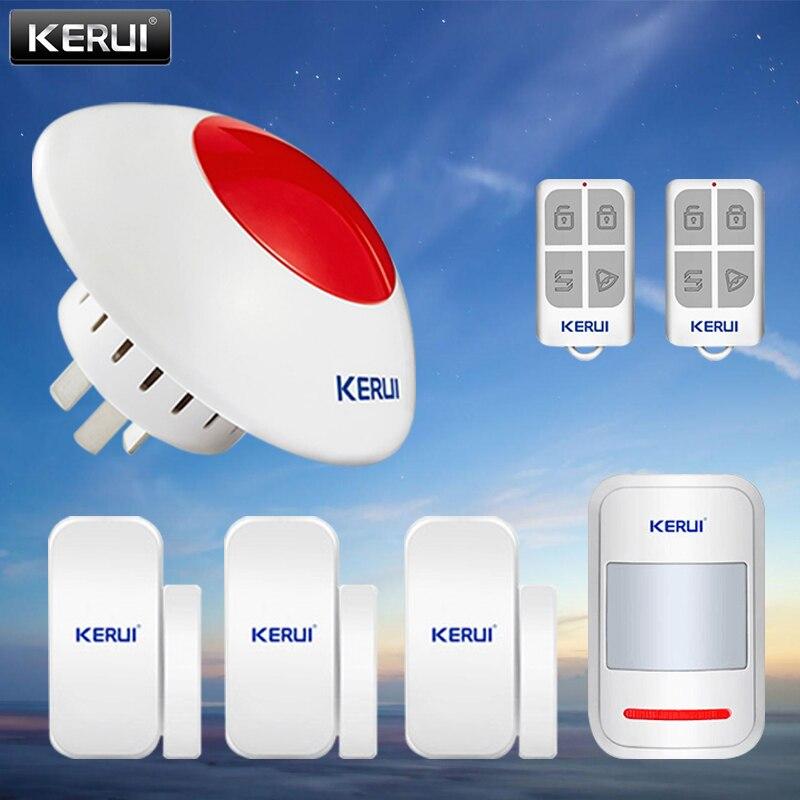 KERUI أمن الوطن اللاسلكية 433 MHz نظام إنذار بسيط وامض داخلي صفارة الإنذار مستشعر الباب الأشعة تحت الحمراء للكشف عن طقم التحكم عن بعد