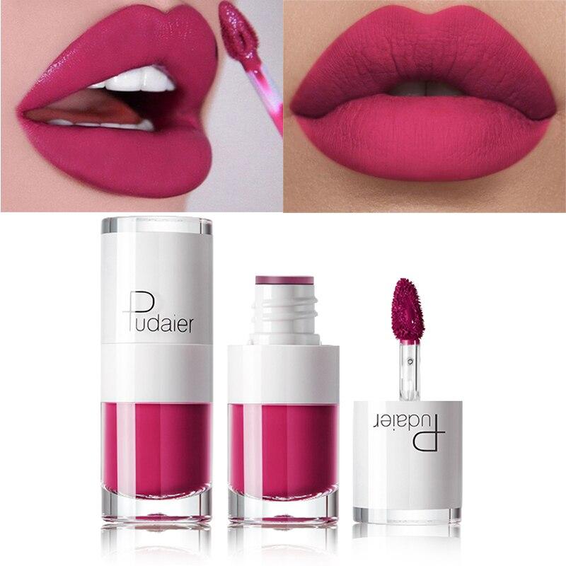 Pintalabios Pudaier, líquido mate, impermeable, maquillaje de labios rojos, tatuaje, tinte de labios de larga duración, mate, brillo labial, colorete, 16 colores