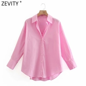 Zevity New Women Simply Candy COlor Single Breasted Poplin Shirts Office Lady Long Sleeve Blouse Roupas Chic Chemise Tops LS9114