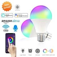 Ampoule intelligente WiFi E27 B22  15W  lampe LED a intensite variable  veilleuse de reveil intelligente  Compatible avec Amazon Alexa Google Home