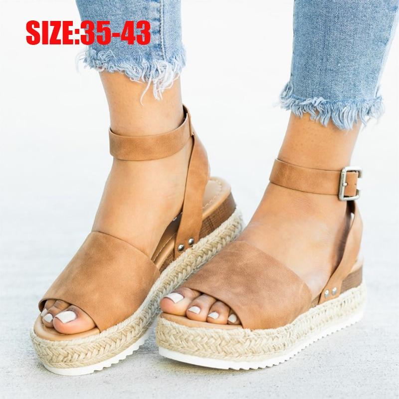 Sandalias de talla grande para mujer 2020, zapatos de cuña para mujer, Sandalias de tacón alto tobilleras, zapatos de verano, sandalias de plataforma para mujer