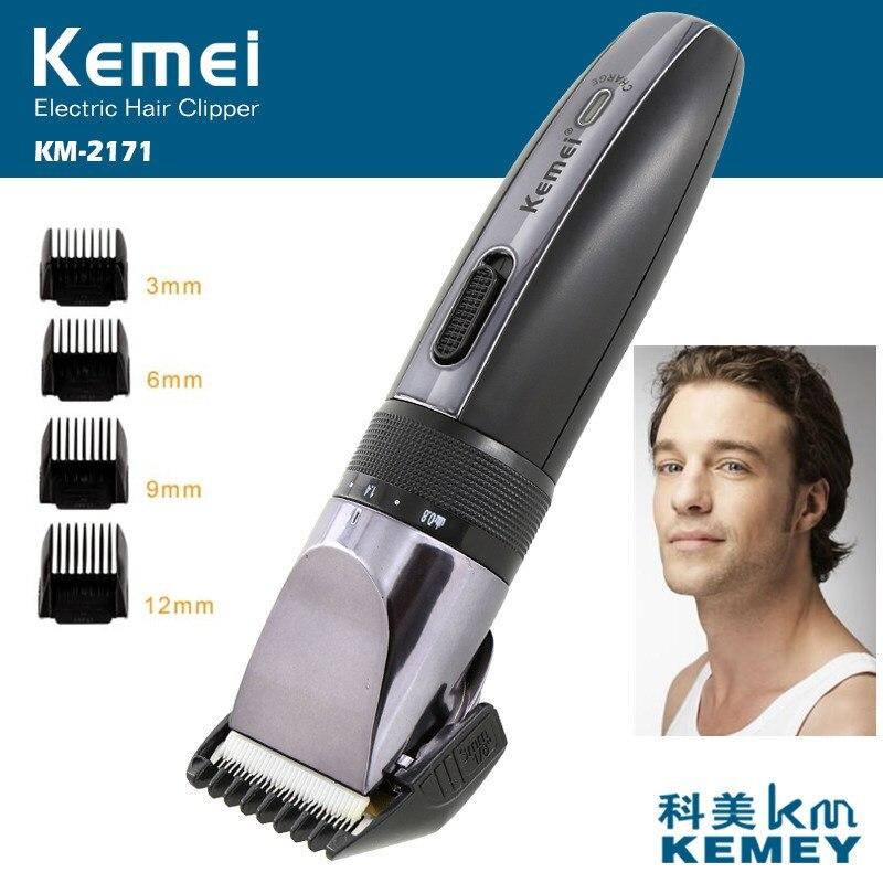 Kemei منخفضة الاهتزاز مقص الشعر الكهربائية الرجال الشعر التشطيب المتقلب شارب سكين الحلاقة 4 الحد مشط ماكينة حلاقة 40D
