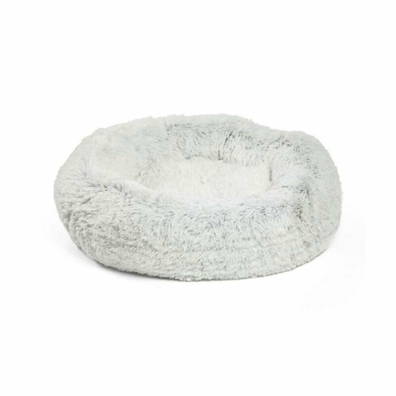 Best Friends by Sheri Luxury 23 Inch Shag Faux Fur Donut Pet Bed, Frost White