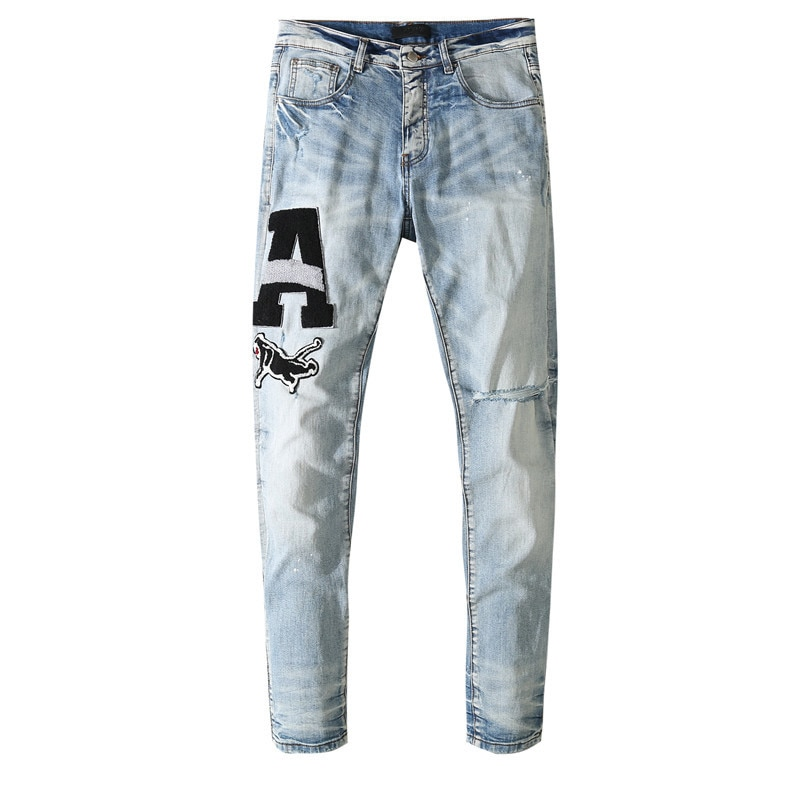 American Famous Brand AMR 2021ss Letter Patch Vintage Ripped Jeans Men Trousers Streetwear Men's Clothing Men Pants