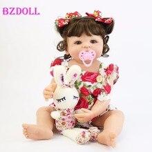 55cm corpo de silicone completo reborn boneca do bebê brinquedo para a menina vinil recém-nascido princesa bebês bebe banho acompanhando brinquedo presente aniversário