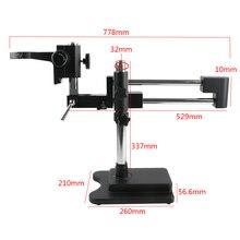 Support de flèche rotatif à Double bras de Microscope à Zoom stéréo avec anneau de support de tête de Microscope à bras de réglage de mise au point A1