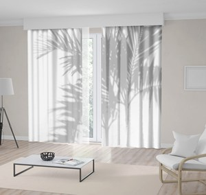 Curtain Palm Tree Branches Leaves Shadow Tropic Garden Foliage Nature Artwork Gray White