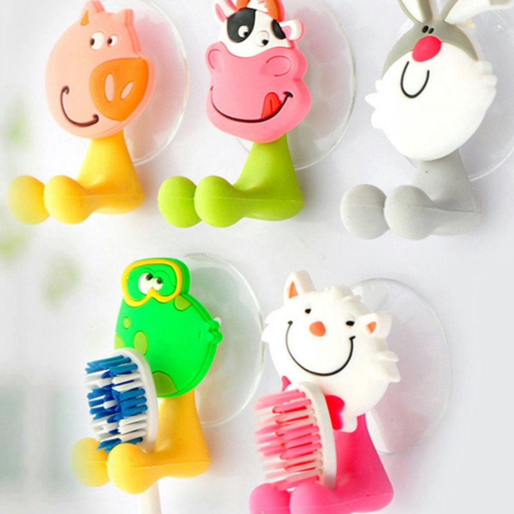 1PC Wall Mounted Cartoon Animal Bathroom Toothbrush Holder Hooks Wall Holder Hanger Rack Storage Toothpaste Suction Cup Holder